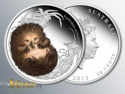 Bush Babies II, Echidna 2013 (Ameisenigel), Silber-Münze 1/2 Unze, coloriert PP, 3. Motiv der Serie