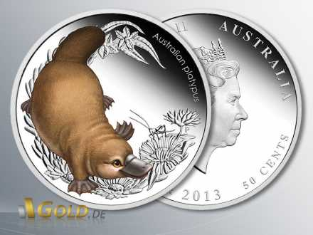 Bush Babies II, Platypus (Schnabeltier) 2013, Silbermünze 1/2 oz farbig, PP, 4. Motiv der Serie