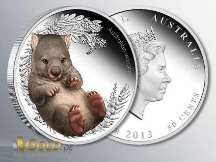 Bush Babies 2, Wombat 2013, 5. und letztes Motiv der Serie, 1/2 oz Silber, PP coloriert (farbig)