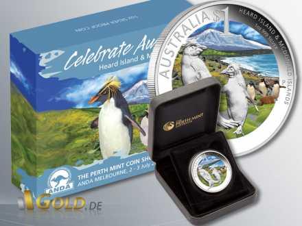 Celebrate Australia 2011, Heard and McDonald Islands, Silbermünze 1 oz PP farbig mit Verpackung und Schatulle