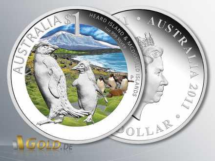 Celebrate Australia 2011, Heard and McDonald Islands, Silber-Münze 1 oz PP coloriert