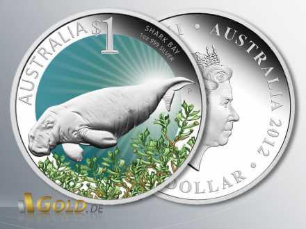 Celebrate Australia 2012, Shark Bay, Silbermünze 1 oz Polierte Platte farbig