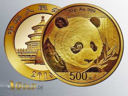 Goldener China Panda 2018 - 30 g, 500 Yuan