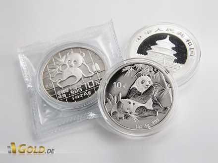 Panda Silbermünzen eingeschweißt und in Kapsel