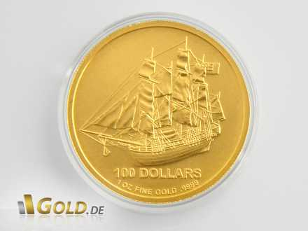 Cook Islands Gold 1 oz, mit Segelschiff Bounty