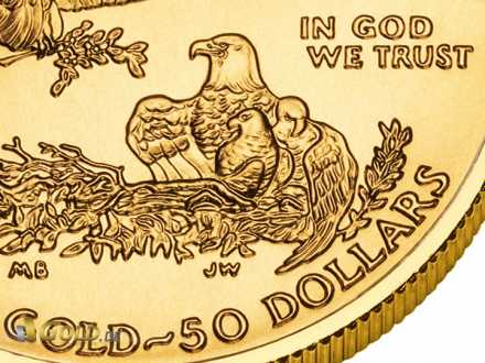 "Detail des Gold Eagle: Nennwert u. das berühmte ""In God we Trust"""