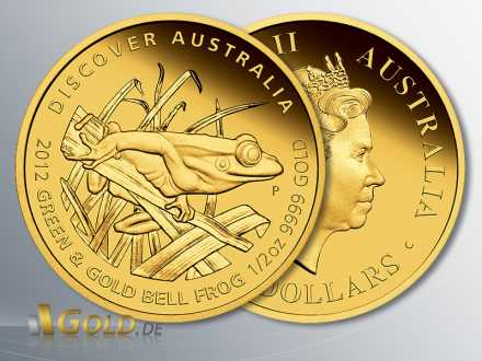 Discover Australia Goldmünze 2012, Green and Gold Bellfrog (Laubfrosch), 1/2 oz PP