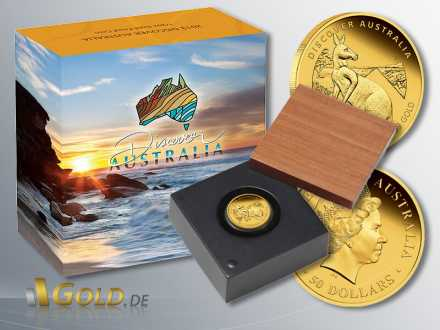 Discover Australia 2013, Gold, Känguru (Kangaroo), 1/2 oz PP mit Schatulle und Verpackung