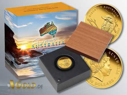 Discover Australia 2013, Kookaburra, Goldmünze 1/2 oz PP, mit Schatulle und Verpackung