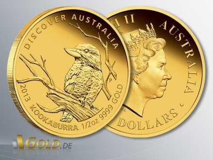 Discover Australia Gold-Münze 2013, Kookaburra, 1/2 oz PP