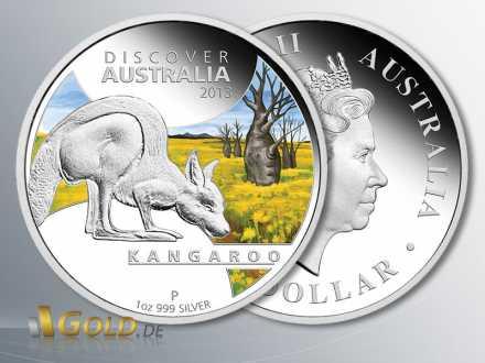 Discover Australia 2013 Silber, Kangaroo (Känguru), Silbermünze 1 oz PP coloriert
