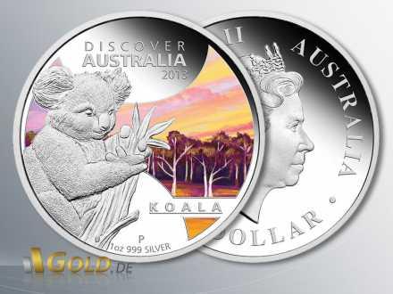 Discover Australia 2013 Silber-Münze, Koala, 1 oz Polierte Platte, farbig