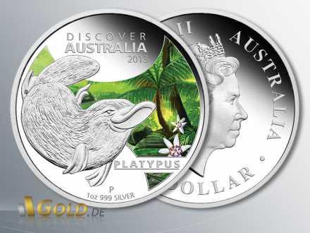 Discover Australia 2013 Silbermünze, Platypus (Schnabeltier), 1 oz Silber farbig Polierte Platte
