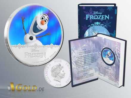 Disney Frozen 2016 - Magic of the Northern Lights Princessin Olaf 1 oz Silbermünze Proof