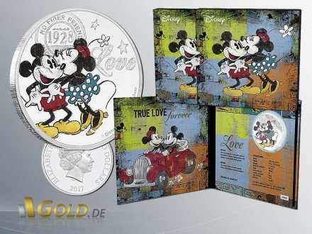 Disney 2016 Mickey Mouse - True Love Forever 1 oz Silbermünze Coloriert