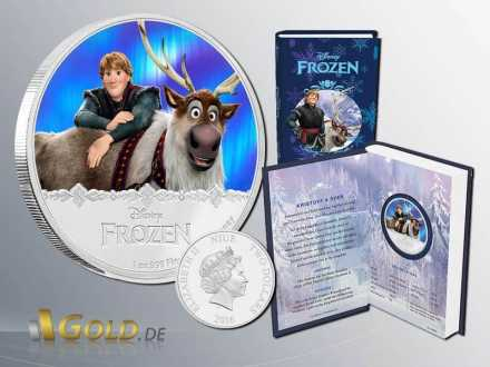 Disney Frozen - Magic of the Northern Lights Princessin Kristoff und Sven1 oz Silbermünze Proof