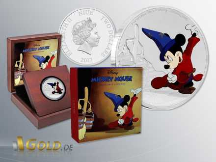 Disney 2016 Mickey Mouse Througe the Age - Fantasia 1 oz Silbermünze Coloriert
