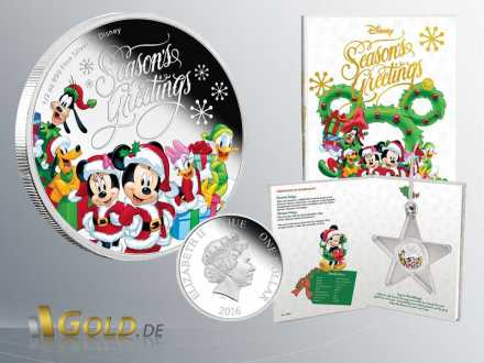 Disney 2016 Mickey Mouse Througe the Age - Season Greetings 1 oz Silbermünze Coloriert