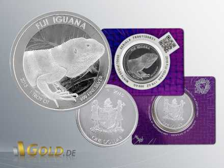 Fiji Iguana Leguan 2015, 1 oz Silbermünze mit DNA Blister