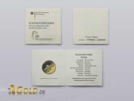 Echtheitszertifikat Gold Fichte