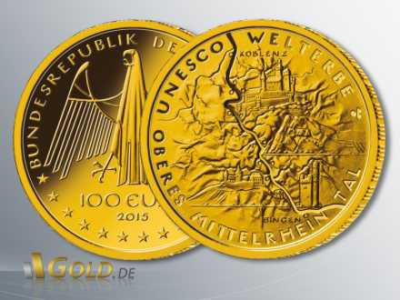 Gold-Euro 2015: Oberes Mittelrheintal, 1/2 oz Gold