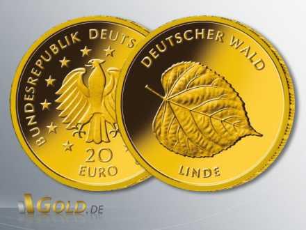 Goldeuro Deutscher Wald Linde 2015, 1/8 oz Gold