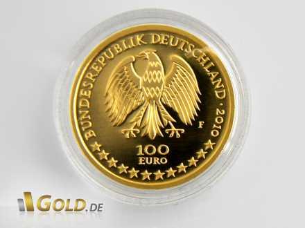 Wertseite des 100 Euro Goldeuro 2010 mit Bundesadler
