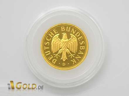 Gold-Mark mit Adler und Schriftzug Deutsche Bundesbank