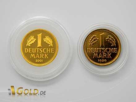 Gold-Mark: Echte Münze links und Fälschung rechts mit falscher Jahreszahl