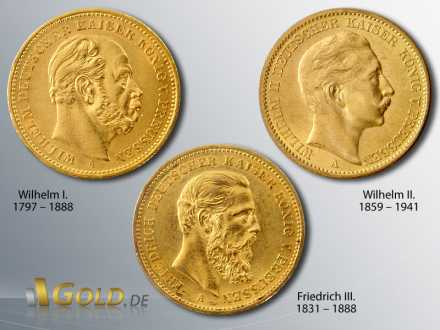 Goldmünzen Deutsches Kaiserreich, Wilhelm I., Friedrich III., Wilhelm II.