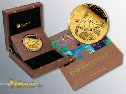 Great Barrier Reef 2014 Goldmünze, The Land Down Under, 2 oz Gold in Schatulle