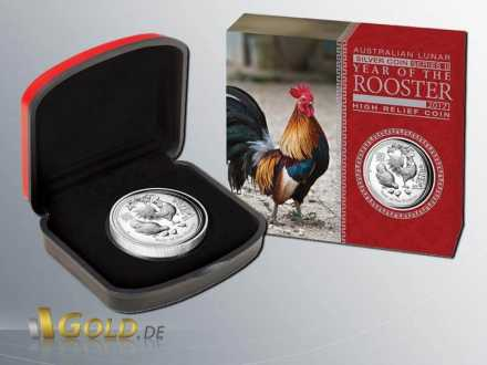 Lunar II 2017 Year of the Rooster - Hahn, High Relief 1 oz Silbermünze