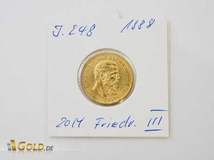 Friedrich III. 20 Mark aus dem Jahr 1888 (J 248)