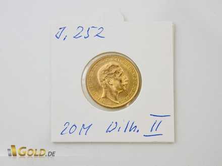 Wilhelm II. 20 Mark Goldmünze Kaiserreich (J 252)