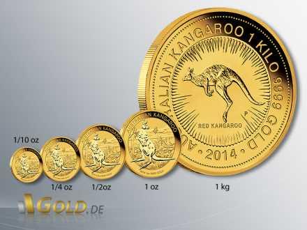 Nugget Kangaroo 2014, Känguru Gold, Stückelungen 1/10 oz, 1/4 oz, 1/2 oz, 1 oz, 1 kg