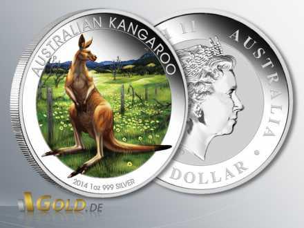 Perth Mint Känguru 1 oz coloriert, Sonderausgabe zur World Money Fair Berlin 2014