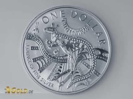 Känguru 2003 Silbermünze im Aborigines-Stil