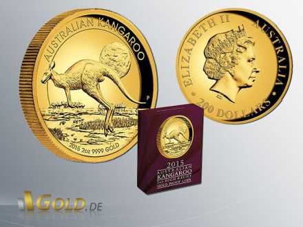 Kangaroo 2 oz 2015 Proof mit Shipper