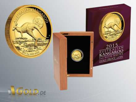 Kangaroo 2 oz 2015 Proof mit Shipper + Box