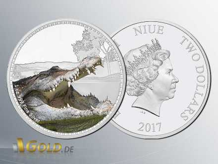 Kings Of The Continents - Saltwater Crocodile 1 oz Silbermünze
