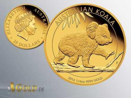 Koala 2016 Proof 1/4 oz Goldmünze