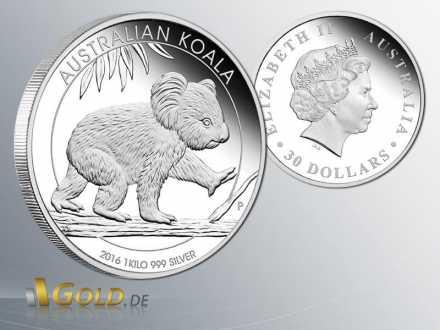 Australian Koala Proof in Silber 1 kg 2016 Vorder- u. Rückseite