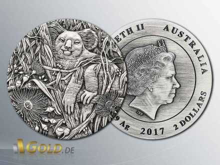 Koala 2017 Antik Finish 2 oz Silbermünze