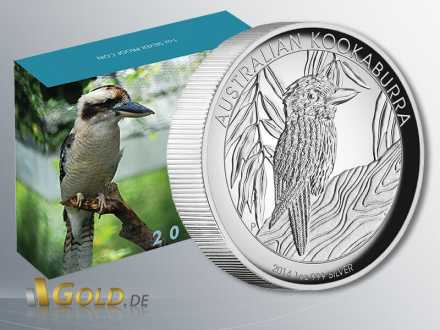 Kookaburra 2014 High Relief Proof 1 oz Silbermünze