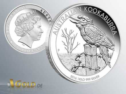 Australian Kookaburra 1 kg Proof 2016 in Silber