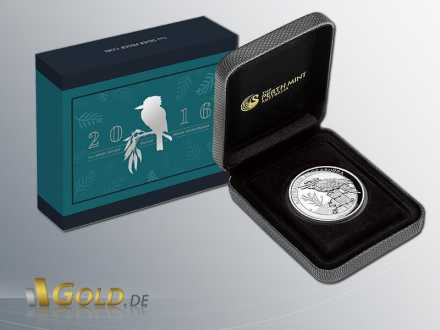 Australian Kookaburra High Relief 1 oz 2016 in Silber mit Shipper