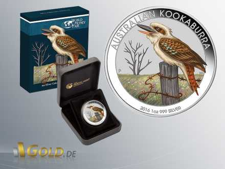 Australian Kookaburra 2016, 1 oz, colored Munic World Fair Trade Spezial, Shipper