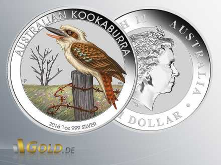 Australian Kookaburra 2016, 1 oz, colored Munic World Fair Trade Spezial