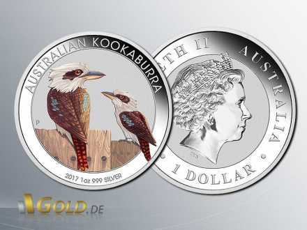 Kookaburra 2017: kolorierte World Money Fair Spezial  1 oz Silbermünzze