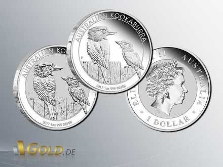 Kookaburra 2017 -Tow Coin Set - 1 oz  Proof und Bullion Silbermünze